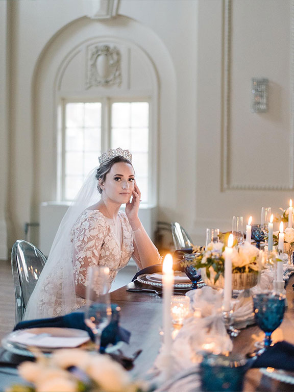 bride to be on dining table
